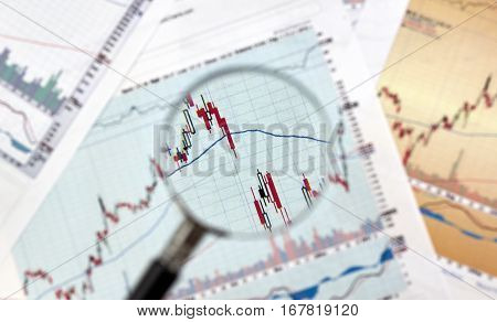 Candlestick graphs focus gap on forex chart under magnifying glass business and financial concept.