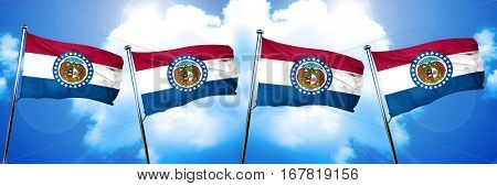 missouri flag, 3D rendering, on a cloud background