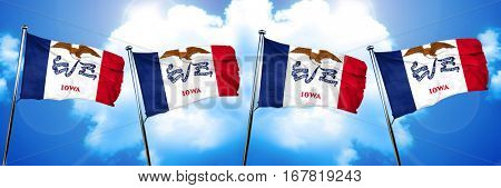 iowa flag, 3D rendering, on a cloud background