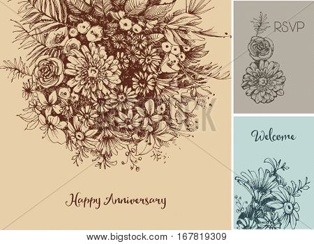 Flowers backgrounds for different events, Easter, wedding, birthday greeting cards in vintage style
