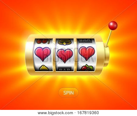 Three heart symbols on gold one-armed bandit slot machine, Valentines Day concept, vector illustration