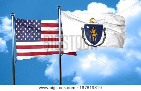 massachusetts with united states flag, 3D rending, combined flag