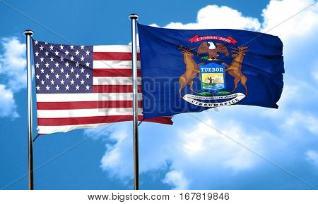 michigan with united states flag, 3D rending, combined flags