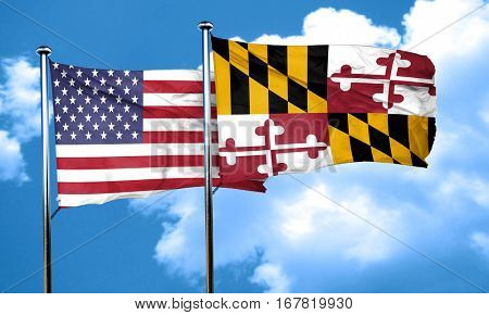maryland with united states flag, 3D rending, combined flags