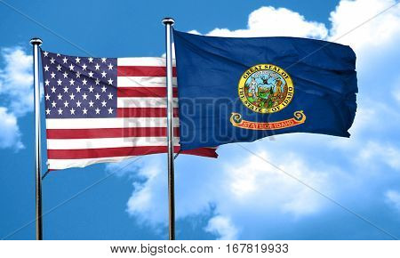 idaho with united states flag, 3D rending, combined flags