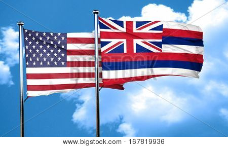 hawaii with united states flag, 3D rending, combined flags