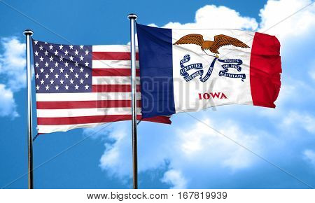 iowa with united states flag, 3D rending, combined flags