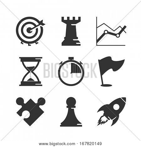 Strategy and competition icons set