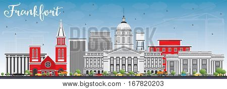 Frankfort Skyline with Gray Buildings and Blue Sky. Vector Illustration. Business Travel and Tourism Concept with Modern Architecture. Image for Presentation Banner Placard and Web Site.
