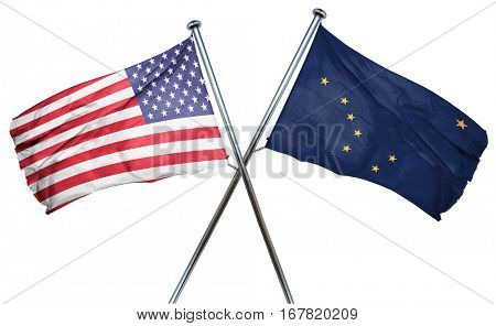 alaska and USA flag, 3D rendering, crossed flags