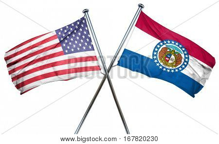 missouri and USA flag, 3D rendering, crossed flags