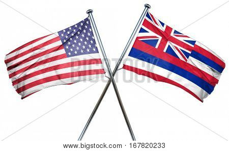 hawaii and USA flag, 3D rendering, crossed flags