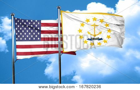 rhode island with united states flag, 3D rending, combined flags