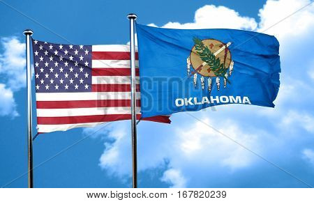 oklahoma with united states flag, 3D rending, combined flags
