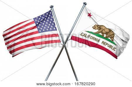 california and USA flag, 3D rendering, crossed flags