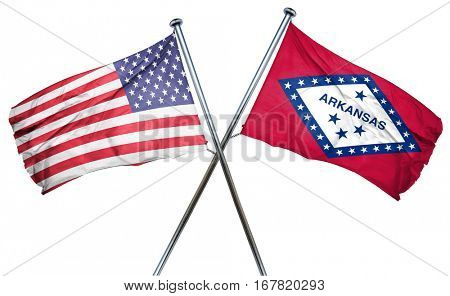 arkansas and USA flag, 3D rendering, crossed flags