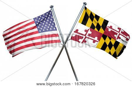 maryland and USA flag, 3D rendering, crossed flags