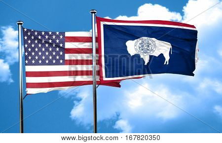 wyoming with united states flag, 3D rending, combined flags