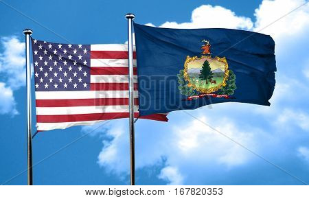 vermont with united states flag, 3D rending, combined flags