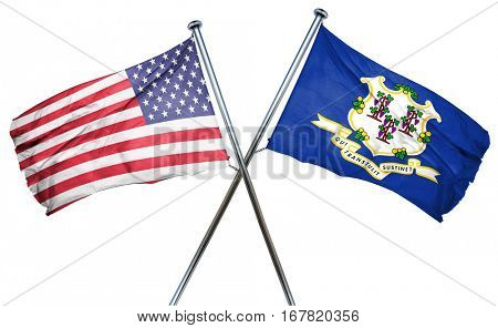 connecticut and USA flag, 3D rendering, crossed flags