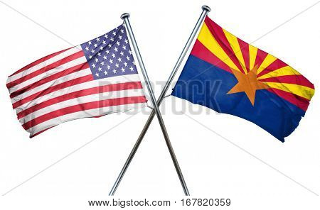 arizona and USA flag, 3D rendering, crossed flags