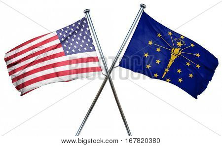 indiana and USA flag, 3D rendering, crossed flags