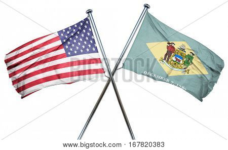 delaware and USA flag, 3D rendering, crossed flags
