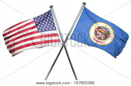 minnesota and USA flag, 3D rendering, crossed flags