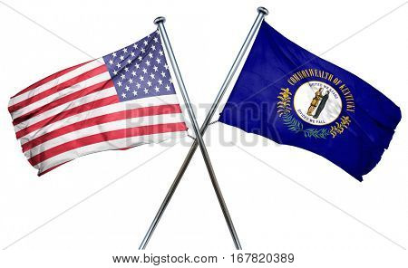 kentucky and USA flag, 3D rendering, crossed flags