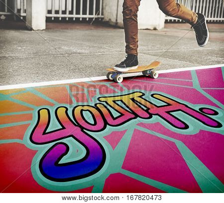 Youth Word Street Drawing Style Concept