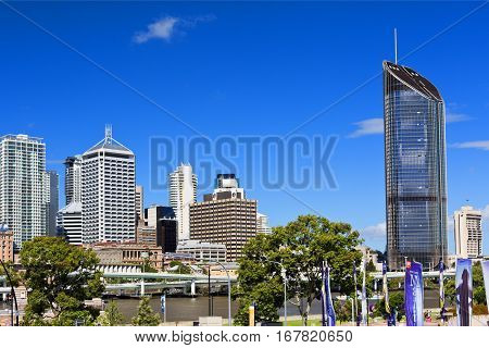 BRISBANE, AUSTRALIA - January 28, 2017: Panoramic view of the modern city of Brisbane Australia