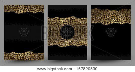 set of three banners with gold texture decoration on the black background.