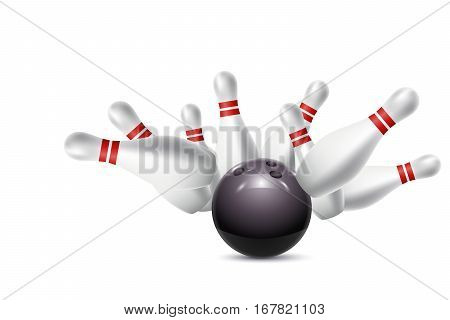 Scattered skittles and bowling ball. Vector illustration