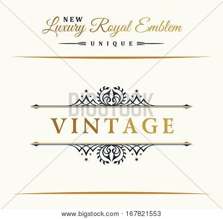 Calligraphic Luxury line logo. Flourishes gold frame. Emblem monogram. Royal vintage design. Black symbol decor for menu card, invitation label, Restaurant, Cafe, Hotel. Vector border illustration