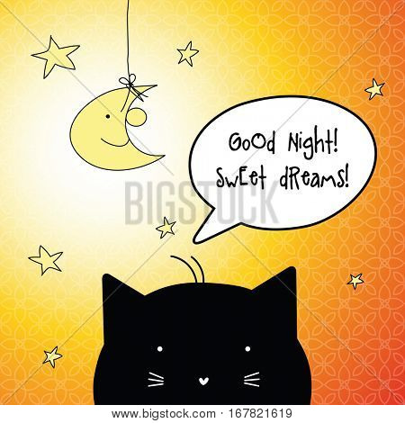 Good Night. Sweet dreams. Card with speech bubble.