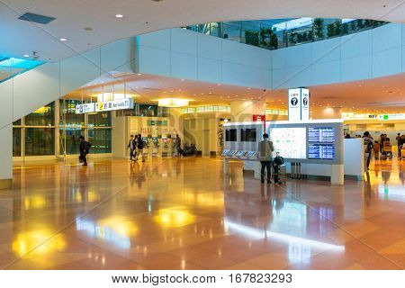 TOKYO, JAPAN - NOVEMBER 6, 2016: Interior of Haneda Airport terminal in Tokyo, Japan. Haneda is an international airport of Tokyo and primary base of two major domestic airlines.