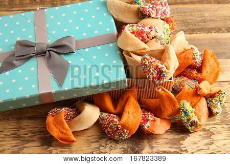 Fortune cookies with gift box