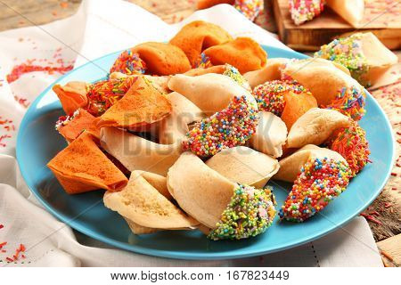 Fortune cookies on blue plate