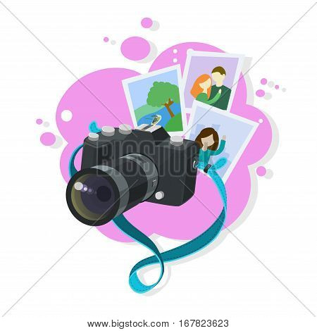 Black photo camera with turquoise strap floating in the air memorable photographs abstract pink bubble background