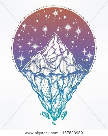 Hand drawn beautiful iceberg, with night starry sky. Glacier design. Isolated vector illustration. Tattoo, travel, adventure, retro symbol. Metaphor of hidden potential or opportunity.