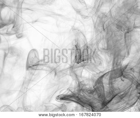 Abstract smoke Weipa. Personal vaporizers fragrant steam. The concept of alternative non-nicotine smoking. Black smoke on a white background. E-cigarette. Evaporator. Taking Close-up. Vaping.