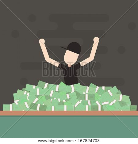 Winner Poker Championship. Man rejoices victory. Success. Simple doodle flat character.