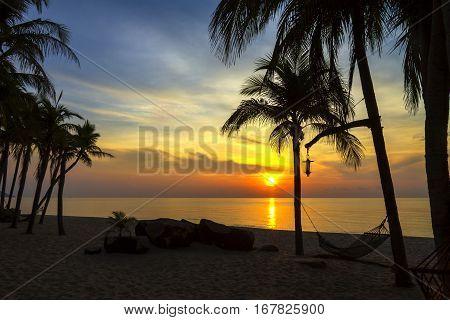 Dawn sunrise at Ban Krut Beach Prachuap Khirikhun Province Thailand