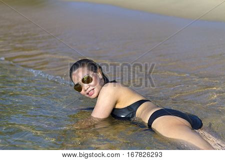 Lady private sexy swimsuit in Ban Krut Beach at Prachuap Khirikhun Province Thailand