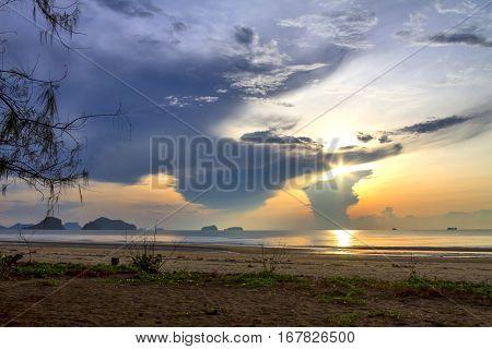 Sunrise and natural beach at Arunothai Beach in Chumphon Province Thailand.