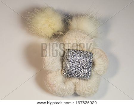 The beautiful wool flower with nice decoration