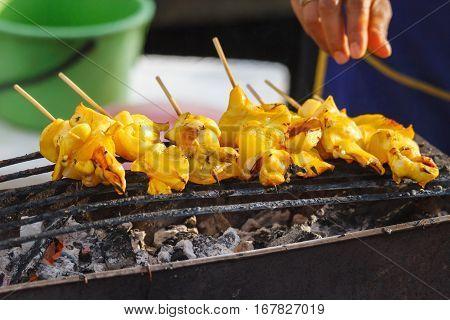 Squid on grill in Thailand market,Thai street food