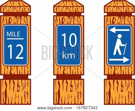 Illustration showing wooden mile marker signs like wood signs one would see along a hiking tramping trail set on isolated white background done in retro style.