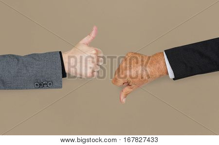 Human Hands Thumbs Up Thumbs Down Sign Concept