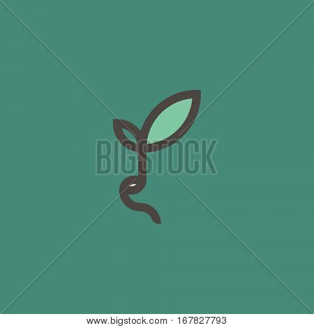 Fresh organic sprout. Modern line logo mark template with sprouting seed or bean on green background